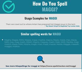 Correct spelling for Maggi