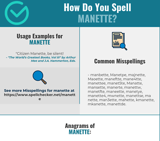 Correct spelling for Manette