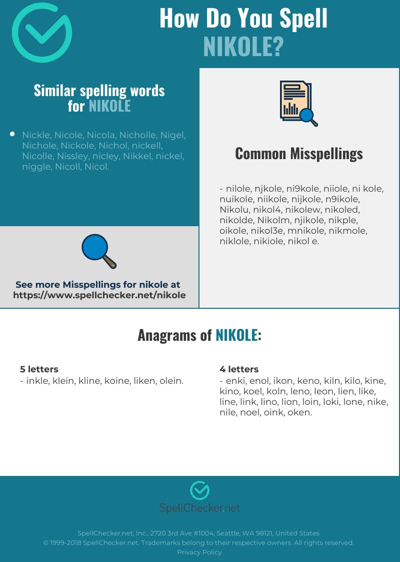 Correct spelling for Nikole Infographic | Spellchecker.net