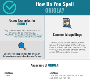 Correct spelling for Oriola