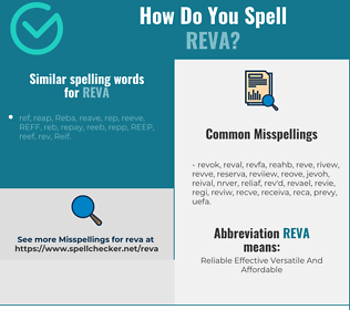 Correct spelling for Reva