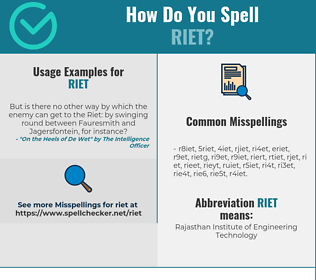 Correct spelling for Riet