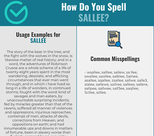 Correct spelling for Sallee