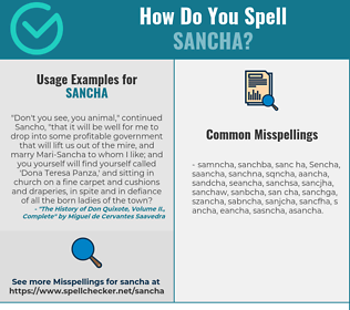Correct spelling for Sancha