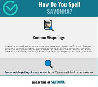 Correct spelling for Savonna