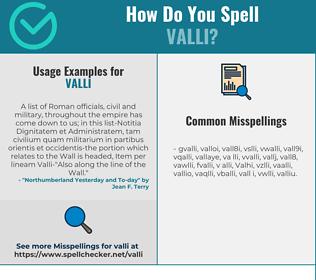 Correct spelling for Valli