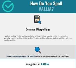 Correct spelling for Vallia