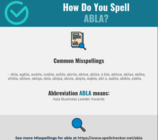 Correct spelling for Abla