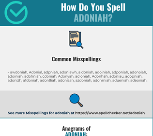 Correct spelling for Adoniah