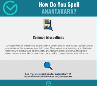 Correct spelling for Anantakarn