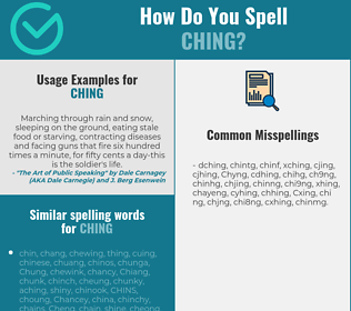 Correct spelling for Ching
