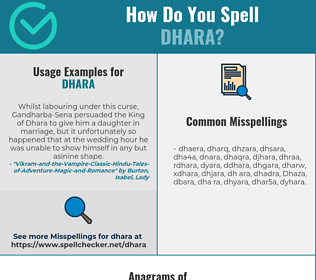 Correct spelling for Dhara