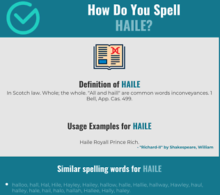 Correct spelling for Haile