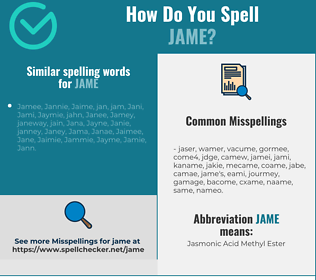Correct spelling for Jame