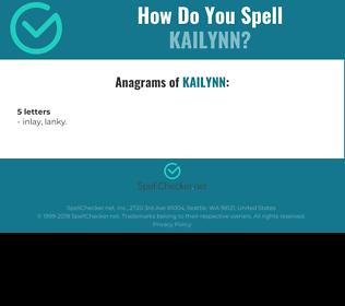 Correct spelling for Kailynn