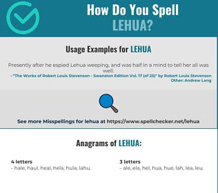 Correct spelling for Lehua