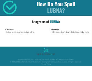 Correct spelling for Lubna