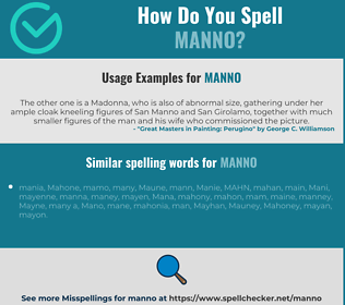 Correct spelling for Manno