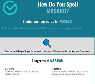 Correct spelling for Masako