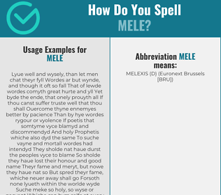Correct spelling for Mele