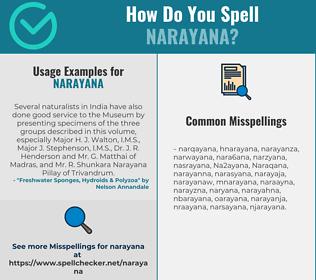 Correct spelling for Narayana