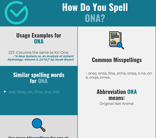 Correct spelling for Ona