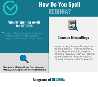 Correct spelling for Reginia