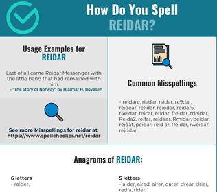 Correct spelling for Reidar