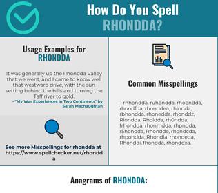 Correct spelling for Rhondda