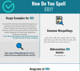 Correct spelling for Sri