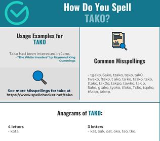 Correct spelling for Tako