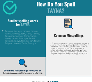 Correct spelling for Tayna