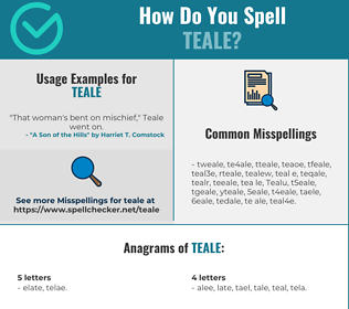 Correct spelling for Teale