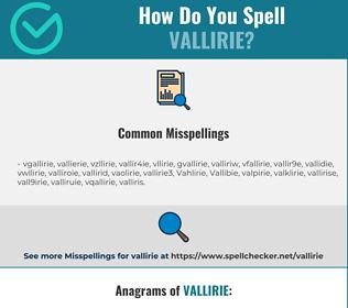 Correct spelling for Vallirie