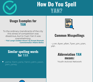 Correct spelling for Yan