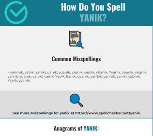 Correct spelling for Yanik