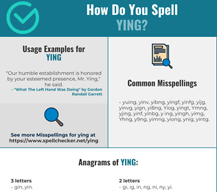 Correct spelling for Ying