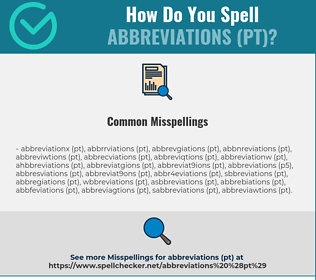 Correct spelling for Abbreviations (PT)