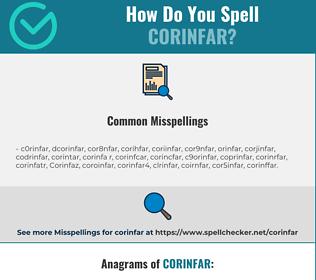 Correct spelling for Corinfar