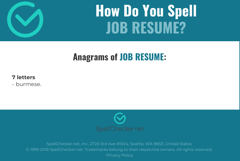 correct spelling for job resume  infographic