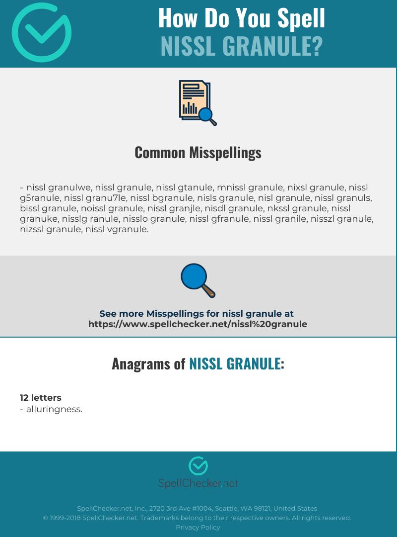 Correct Spelling For Nissl Granule Spellcheckernet