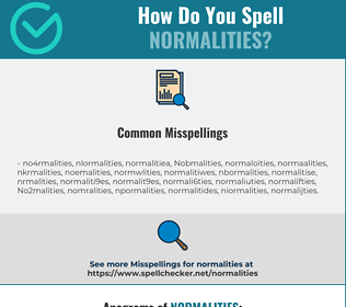 Correct spelling for Normalities