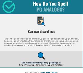 Correct spelling for PG Analogs