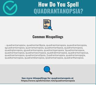 Correct spelling for Quadrantanopsia