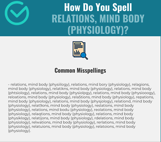 Correct spelling for Relations, Mind Body (Physiology)