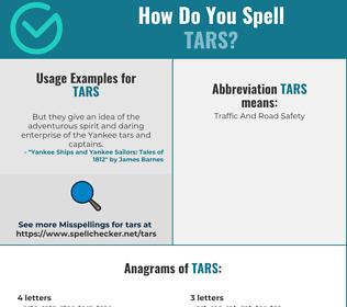Correct spelling for Tars
