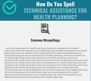 Correct spelling for Technical Assistance for Health Planning