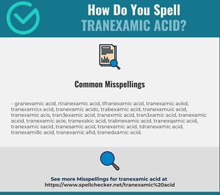 Correct spelling for Tranexamic Acid