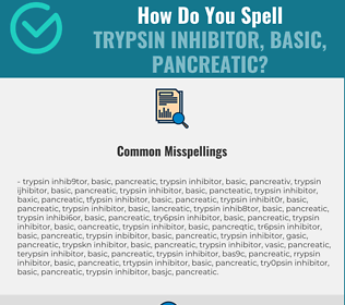 Correct spelling for Trypsin Inhibitor, Basic, Pancreatic