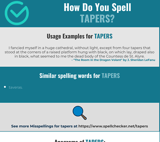 Correct spelling for tapers
